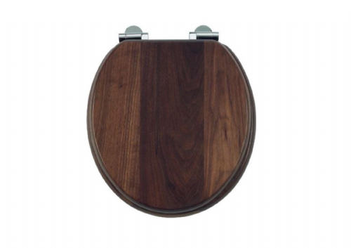 Burlington, Walnut Solid Wood Soft Close Toilet Seat, Chrome Fittings, S47